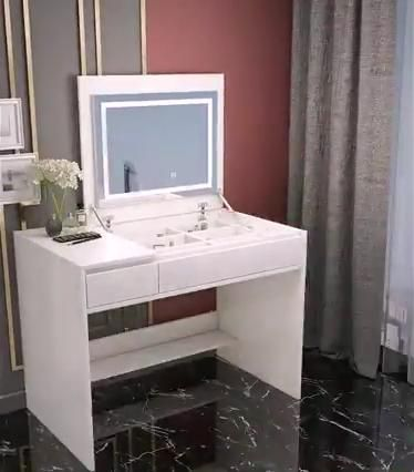 Table Set ,Makeup Table with Oval Mirror & Stool, Bedroom Wood Dressing Table with 4 Drawers White