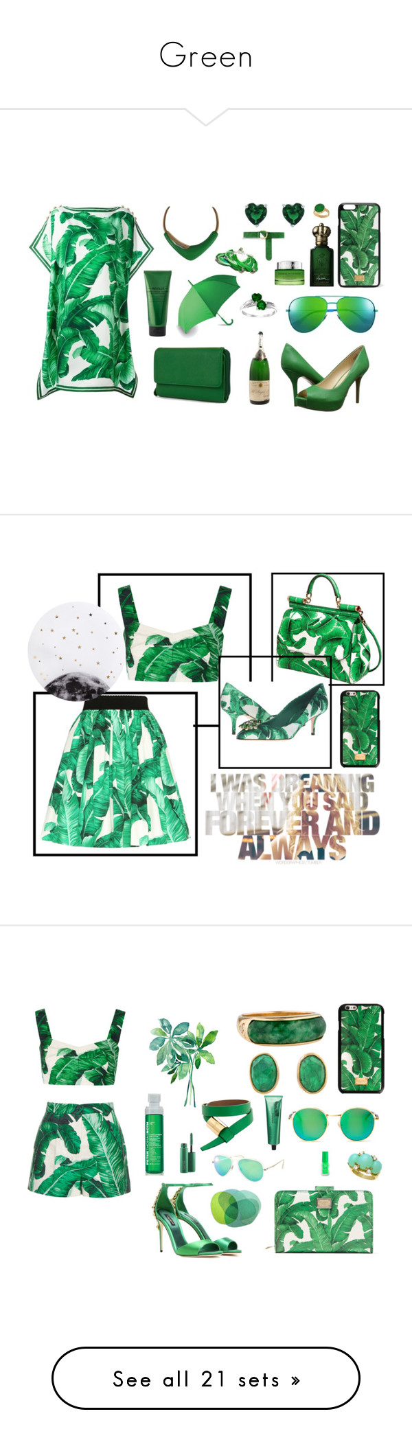 """""""Green"""" by paustukas ❤ liked on Polyvore featuring beauty, Dolce&Gabbana, Clive Christian, Mundi, Lancôme, Nine West, Barbara Bui, Monet, Yves Saint Laurent and Neville"""