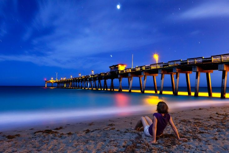 Venice Beach Florida At Night