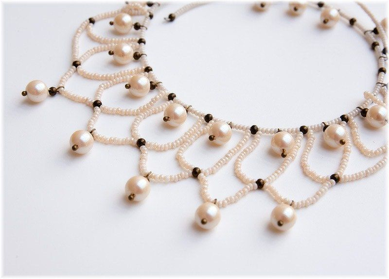 Victorian style necklace with faux pearls and by WineCountryLife, $32.00
