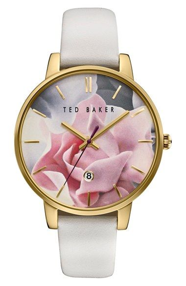 free shipping and returns on ted baker london leather strap watch 40mm at nordstromcom a colorful floral dial imbues a classic round watch with a touch - Nordstrom Christmas Hours