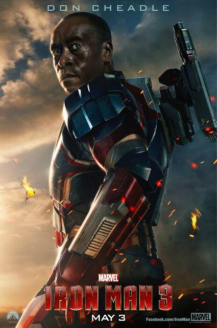 Iron Man 3 Character Poster Don Cheadle In The Iron Patriot Armor Iron Man 3 Peliculas De Superheroes Peliculas De Iron Man