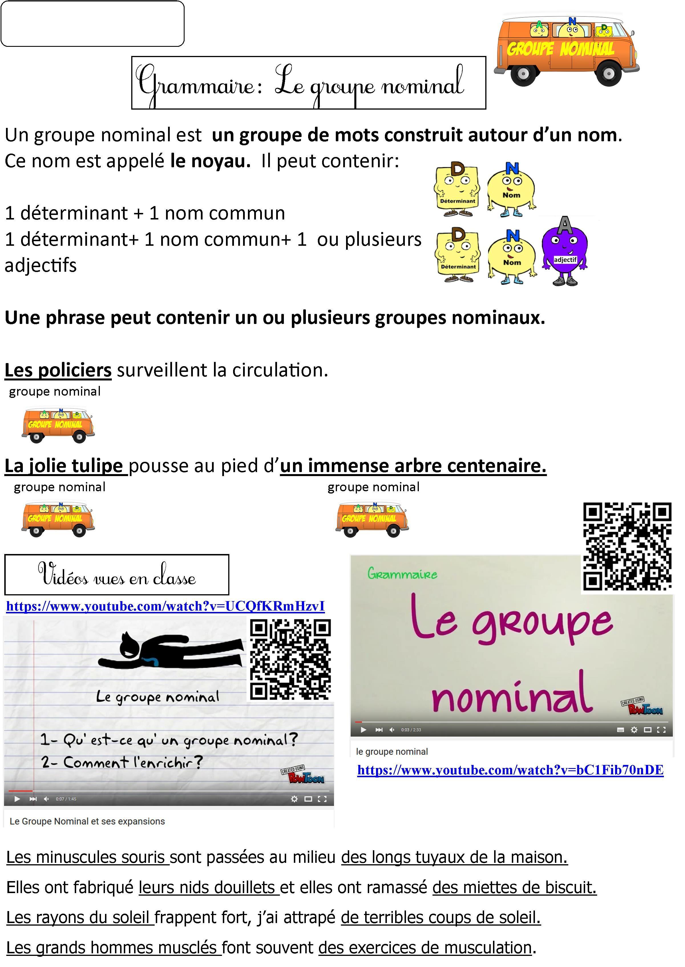 Le Groupe Nominal Et Ses Expansions Ce2 Cm1 Cm2 Lecon Augmentee 2 Videos Le Blog De Monsieur Mathieu Groupe Nominal Ce2 Cm1 Cm1