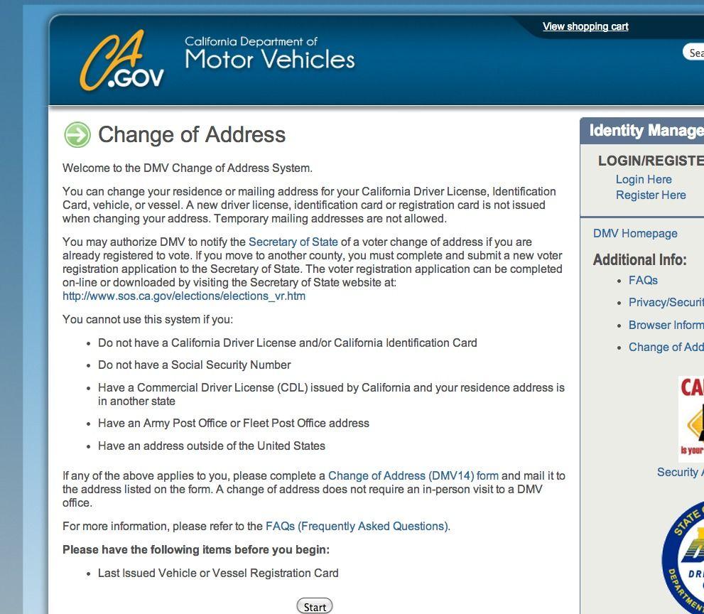 California Dept Of Motor Vehicles Change Address | Motorssite.org
