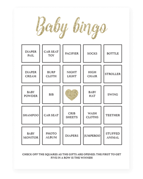 Play Baby Bingo With These Gold Baby Shower Bingo Cards The Printable Bingo Set Includes Blank Card Baby Shower Bingo Baby Shower Printables Gold Baby Showers