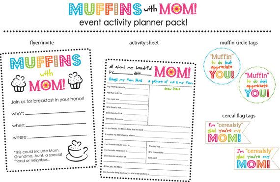 Muffins With MomTeacher Pta MotherS Day FlyerInvite Gift