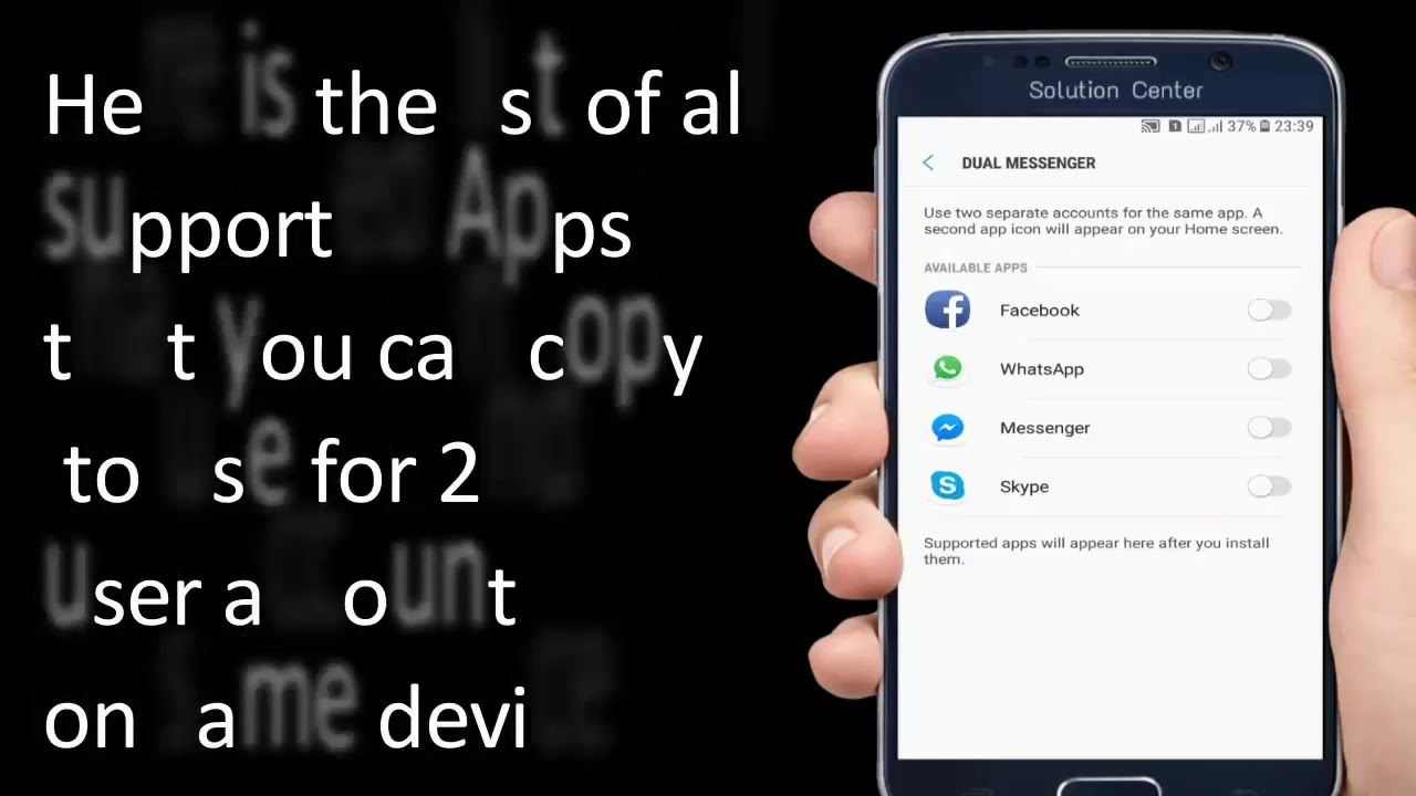 Samsung Dual Apps How To Use Dual Messenger Feature On Samsung Galaxy Youtube App Icon App