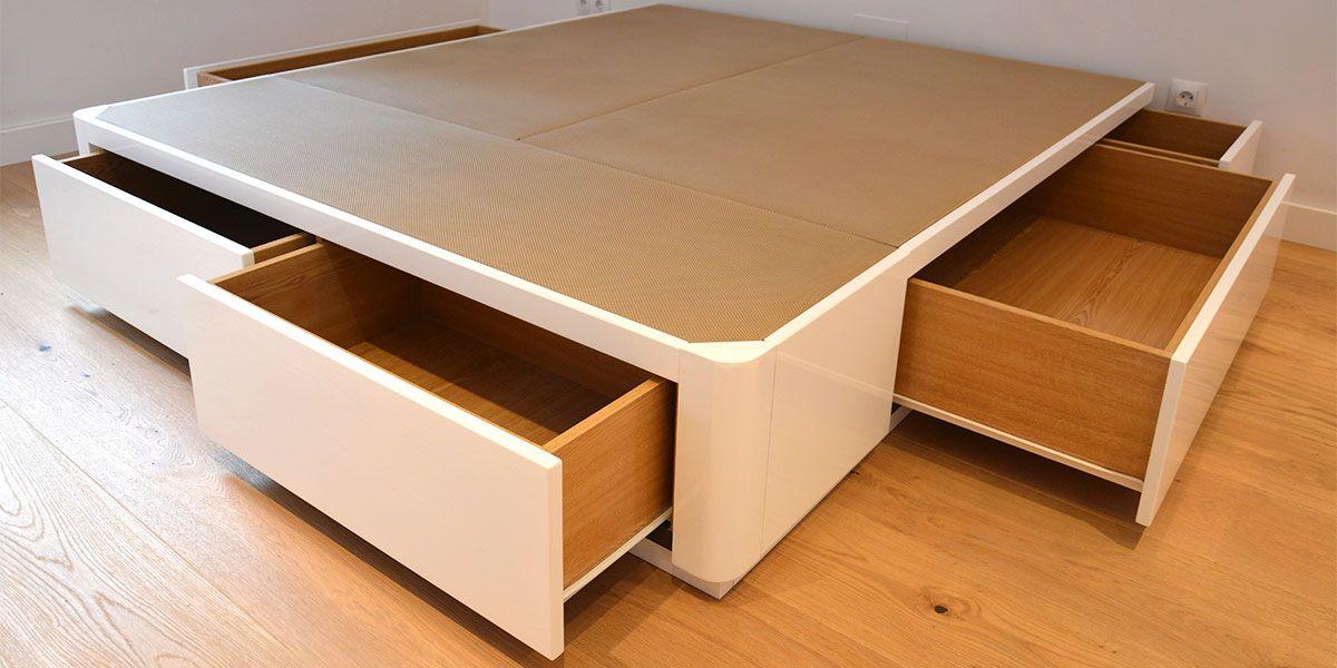Cama canap de madera con cajones muebles qu idea etxe - Camas de 90 con cajones ...