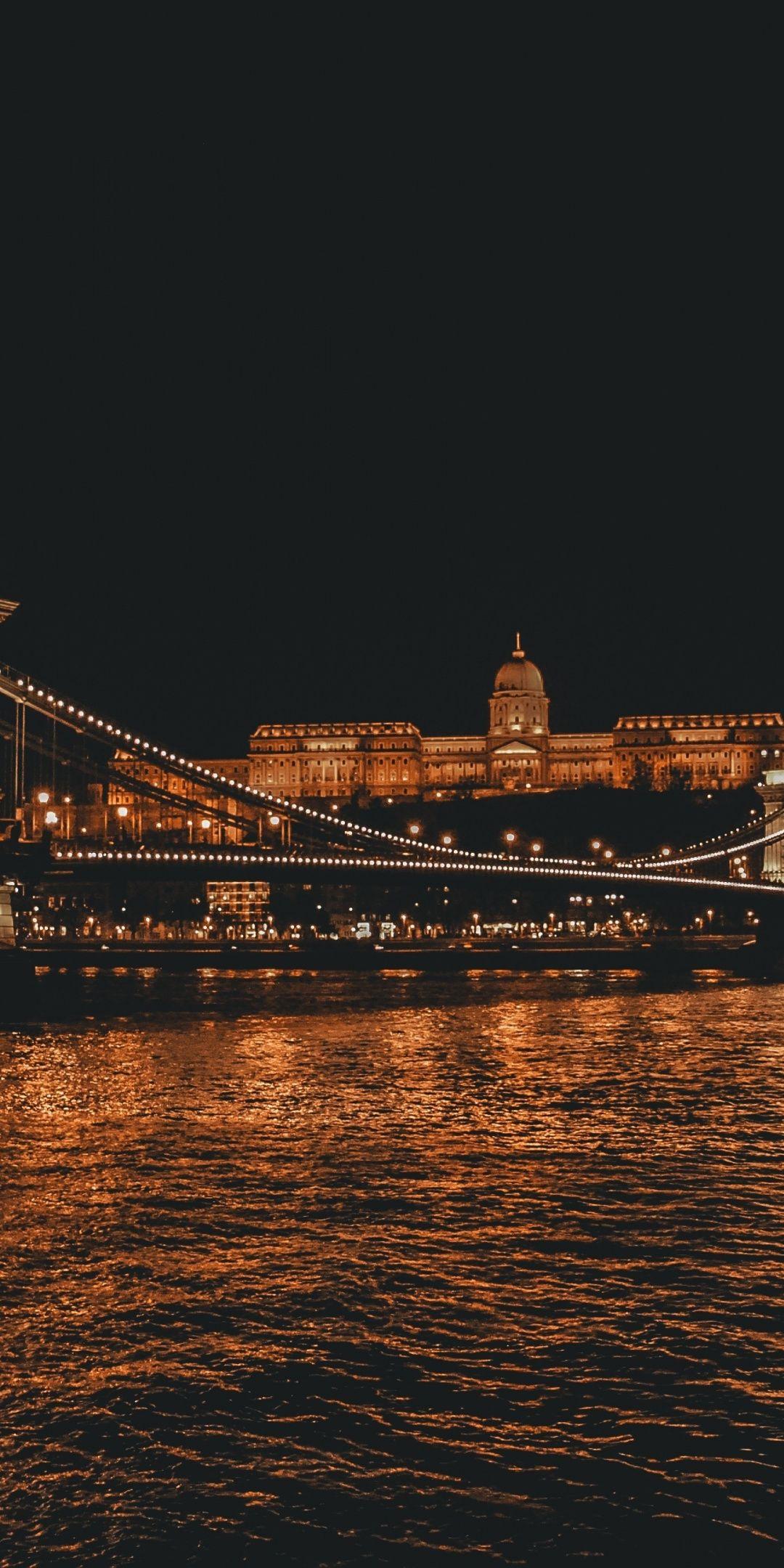 Budapest, city, bridge, night, 1080x2160 wallpaper