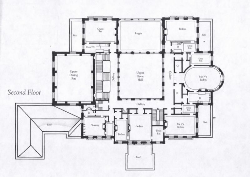 the breakers floor plan at top from left to right are the principal guest room the upper loggia and gertrudes room these spaces actually face - Second Floor Floor Plans