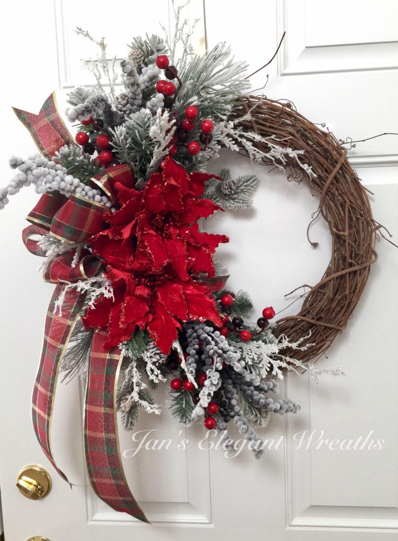Christmas Wreath Poinsettia Wreath Elegant Christmas Decor Traditional Holiday Wreath Holiday Poinsettia Wreath Christmas Wreaths Christmas Wreaths Diy Xmas Wreaths
