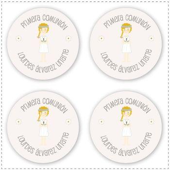 Recordatorios de primera comuni n personalizados con tu for Pegatinas pared nina