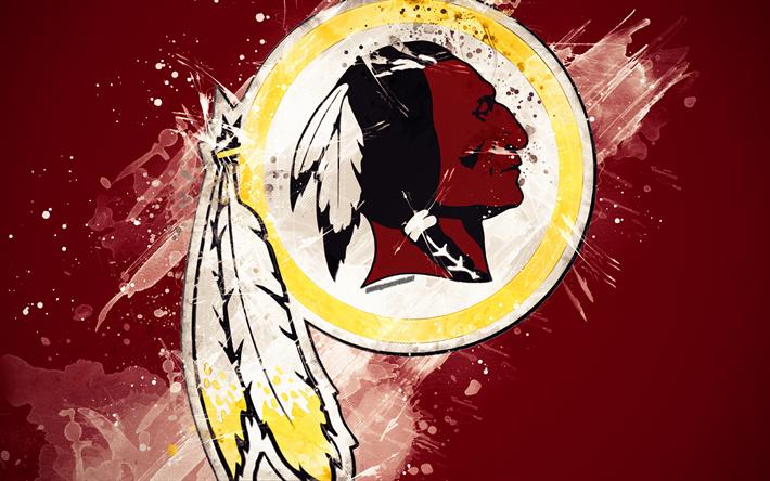 Download wallpapers Washington Redskins, 4k, logo, grunge
