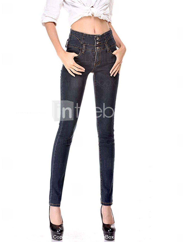 Pantalones Mujer Tallas Ajustado Pitillo Vaqueros Grandes Algodón wA0aYR