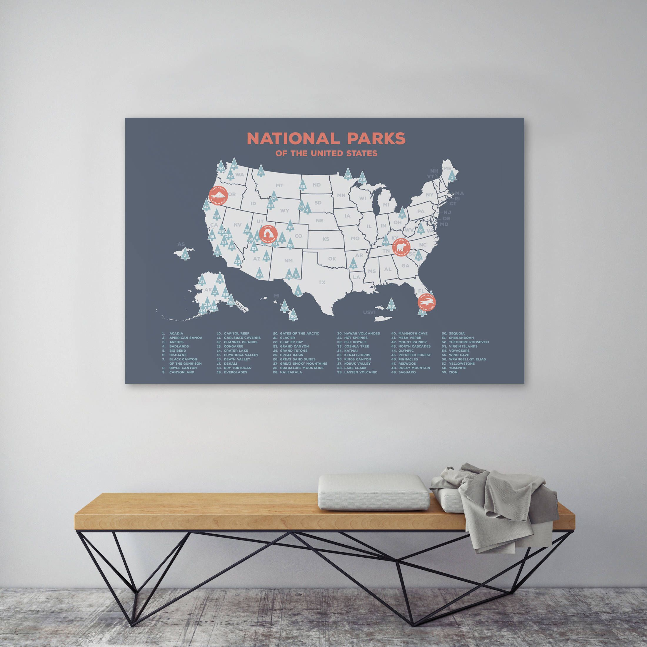 us national parks map charcoal gray usa map map of the united statesmap wall decor grey travel map wall art for kids camping decor