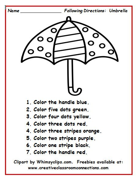 Umbrella worksheet with simple directions provides students practice ...