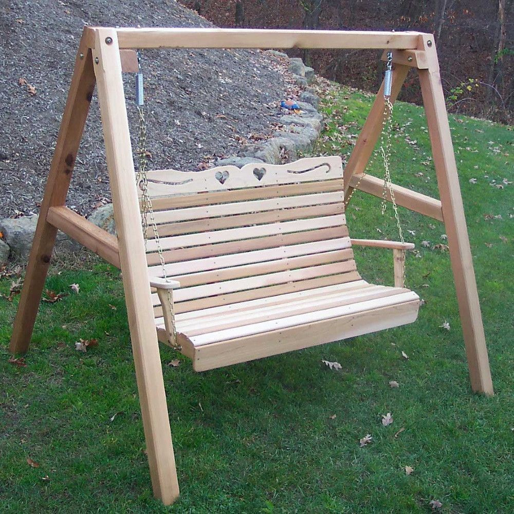 Cedar Royal Country Hearts Porch Swing W Stand Porch