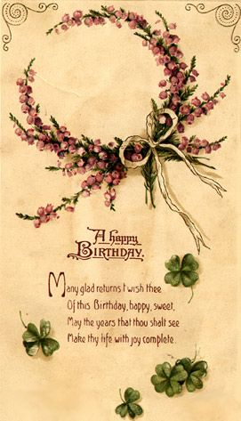 Happy Birthday Celtic Virtual Vintage Birthday E Cards Irish