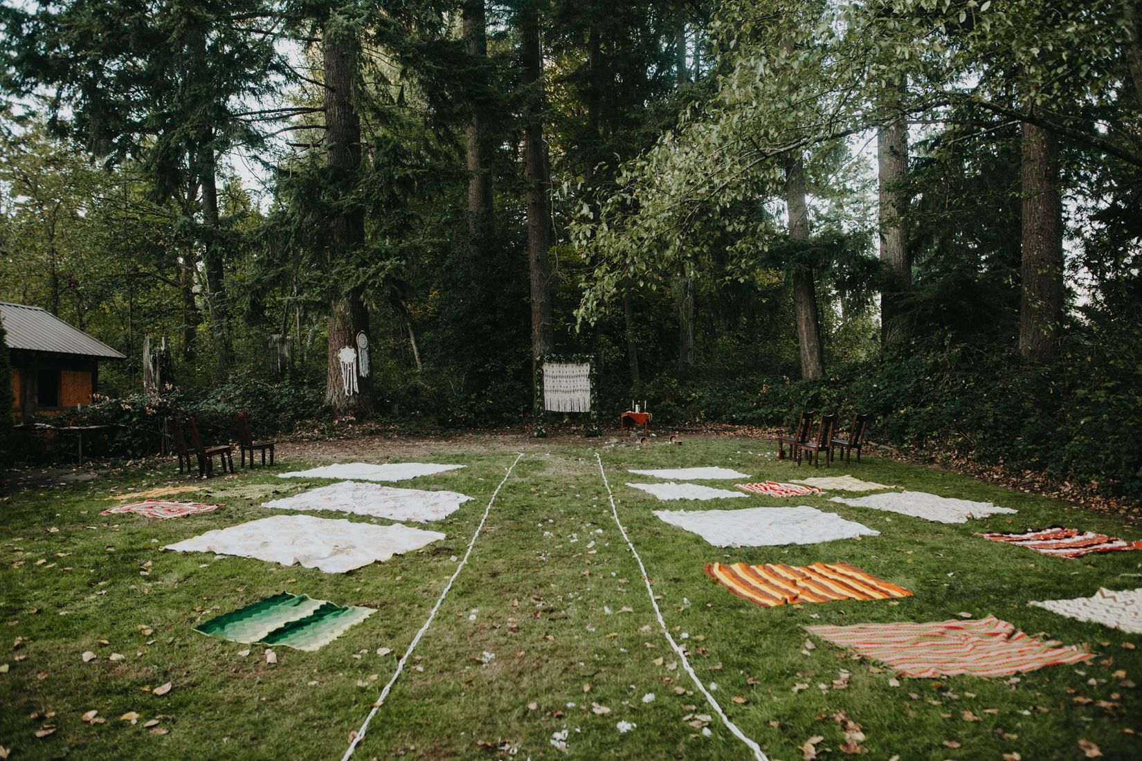 blanket seating for backyard wedding ceremony w e d d i n g s