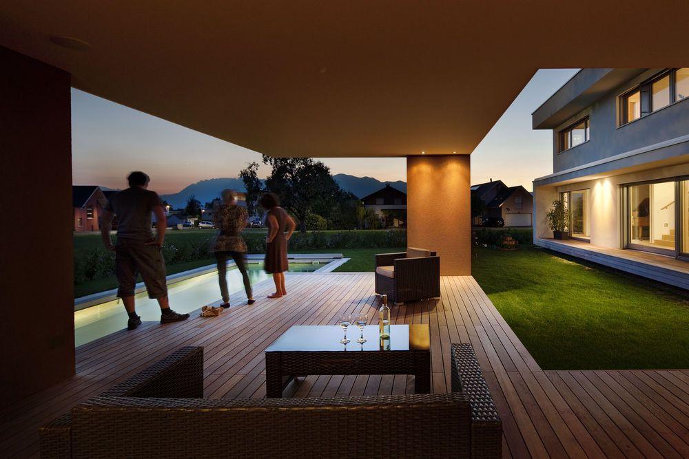 Massivhaus l-form  Massivbau# Holz-Alufenster#moderne L-Form # moderne Architektur ...
