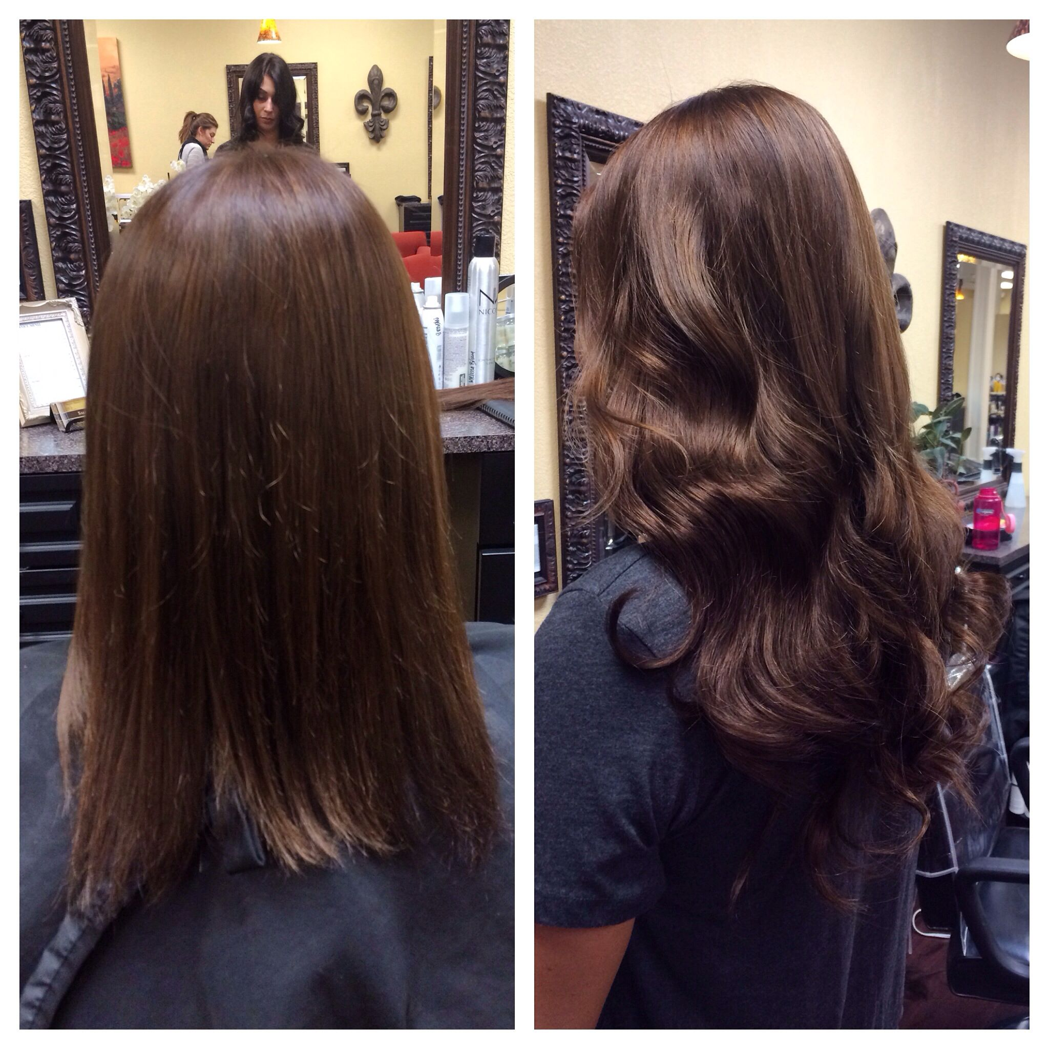 Before and after - tape in extensions. Melissa Broom at Salon Murcel. San Ramon, Ca.