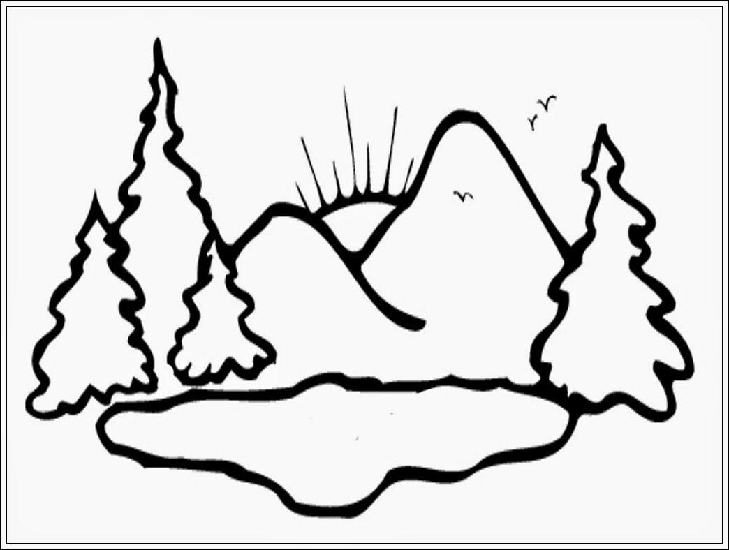 mewarnai gambar gunung dan matahari terbit