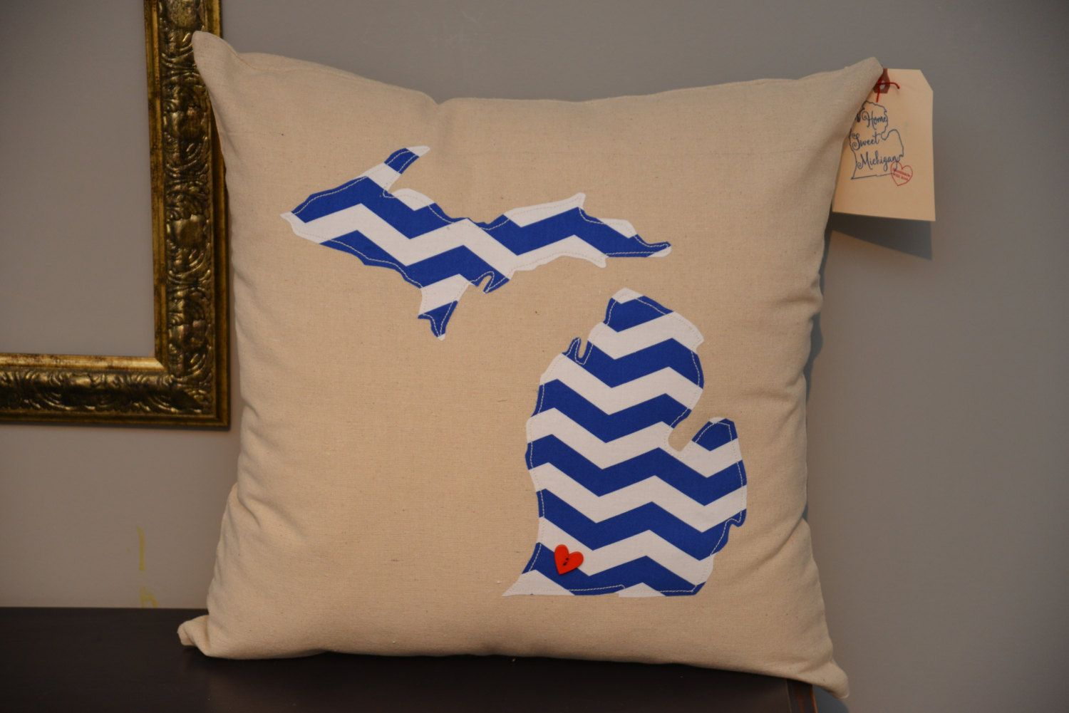 Browse unique items from HomeSweetMichigan on Etsy, a global marketplace of handmade, vintage and creative goods.  Michigan Pillows - 18x18 - Custom Pillows - Handmade Pillows - State Pillows - Pillow Covers - MI Pillows - Accent Pillows - Throw Pillows