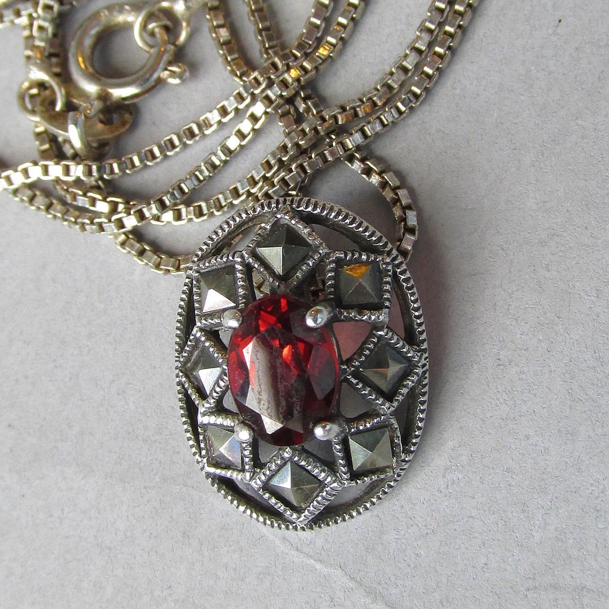Vintage sterling silver garnet marcasite pendant necklace from vintage sterling silver garnet marcasite pendant necklace from crystazzle on ruby lane aloadofball Images