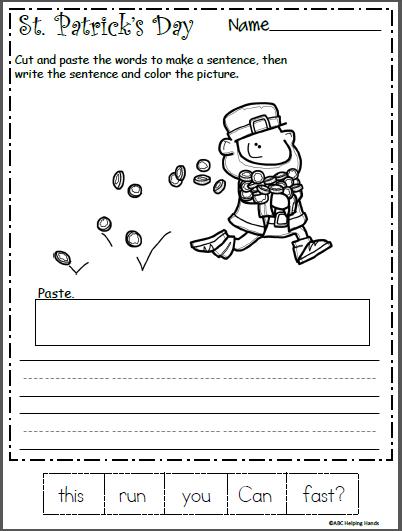 st patrick 39 s day mixed up sentence worksheet kindergarten march worksheets kindergarten. Black Bedroom Furniture Sets. Home Design Ideas