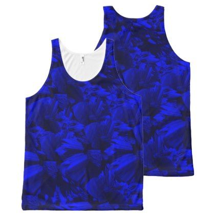 #black - #A202 Rich Blue and Black Abstract Design All-Over-Print Tank Top