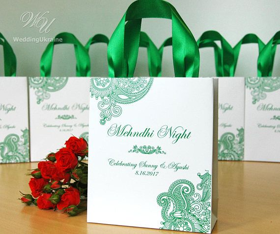 35 mehndi night gift bags with satin ribbon names personalized 35 mehndi night gift bags with satin ribbon names personalized wedding welcome bags for guests indian wedding gifts and favors negle Image collections