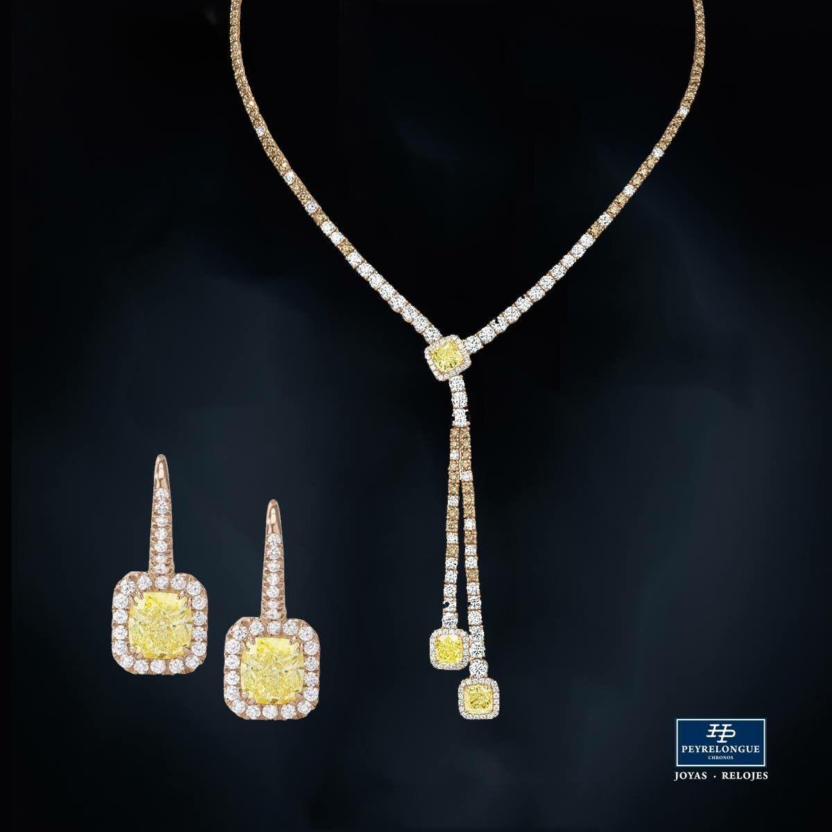 043c159974e8  JoyasPeyrelongue JUEGO DE DIAMANTES AMARILLOS Y CAFÉS Collar de diamantes  amarillos