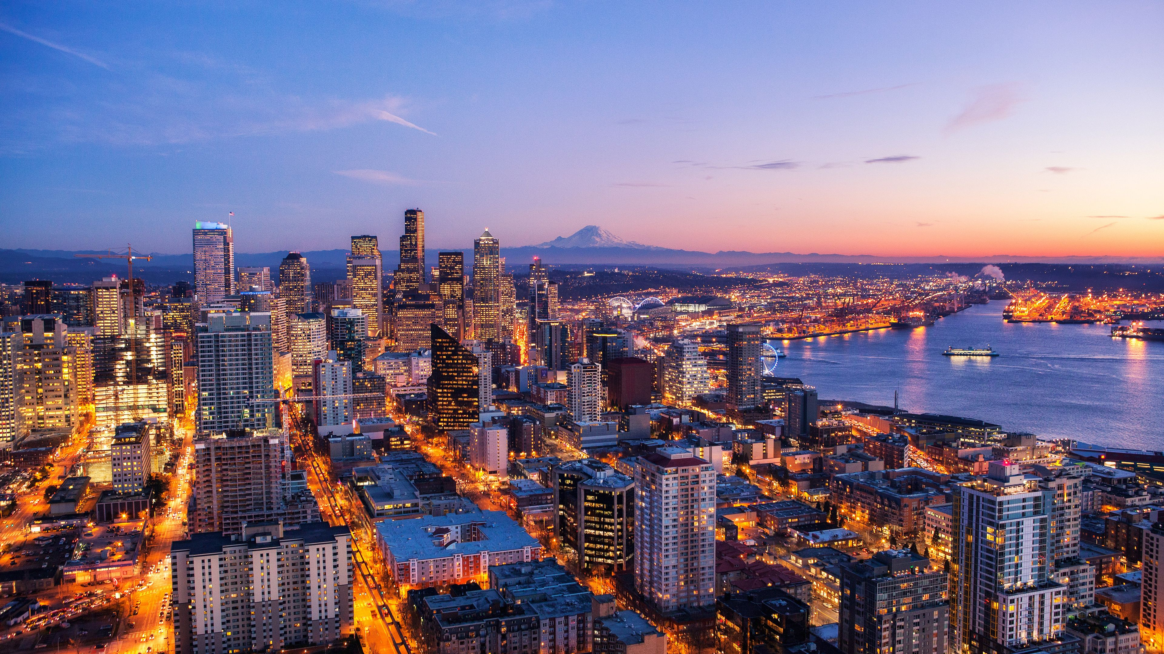 Wallpaper 4k Seattle Skyline At Night View 4k 4k