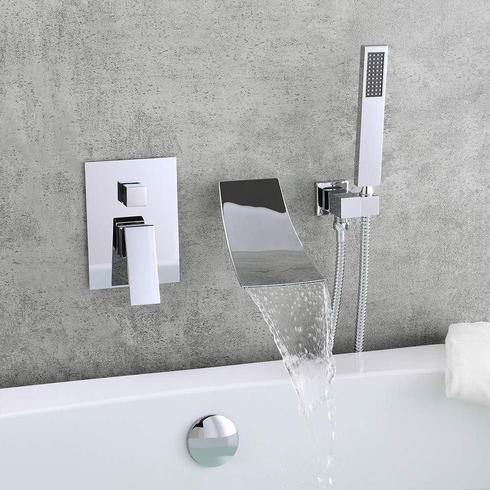 Kunmai Waterfall Wall Mount Tub Faucet With Handheld Shower Chrome Waterfall Spout Bathtub Faucet With Hand Shower Solid Bras In 2020 Tub Faucet Bathtub Faucet Faucet