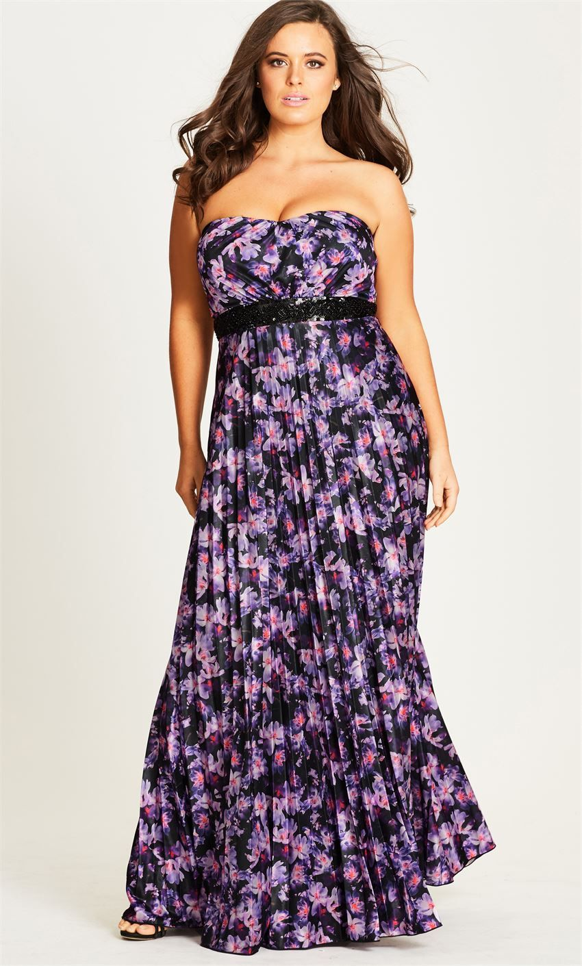 Helena Printed Plus Size Maxi Dress Special Occasion Dresses