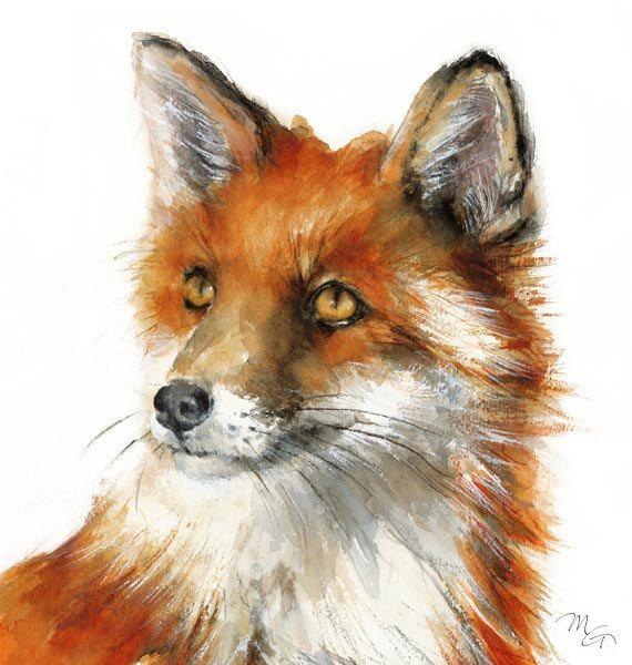 Renard roux peinture woodland fox print portrait par miraguerquin foxes pinterest fox - Dessin renard ...