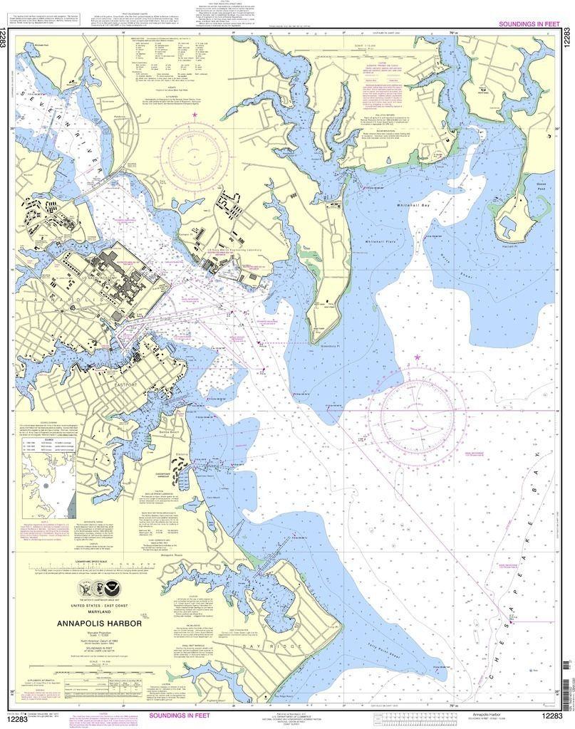 Noaa Nautical Chart 12283 Annapolis Harbor Products Annapolis Harbor Nautical Chart Blanket