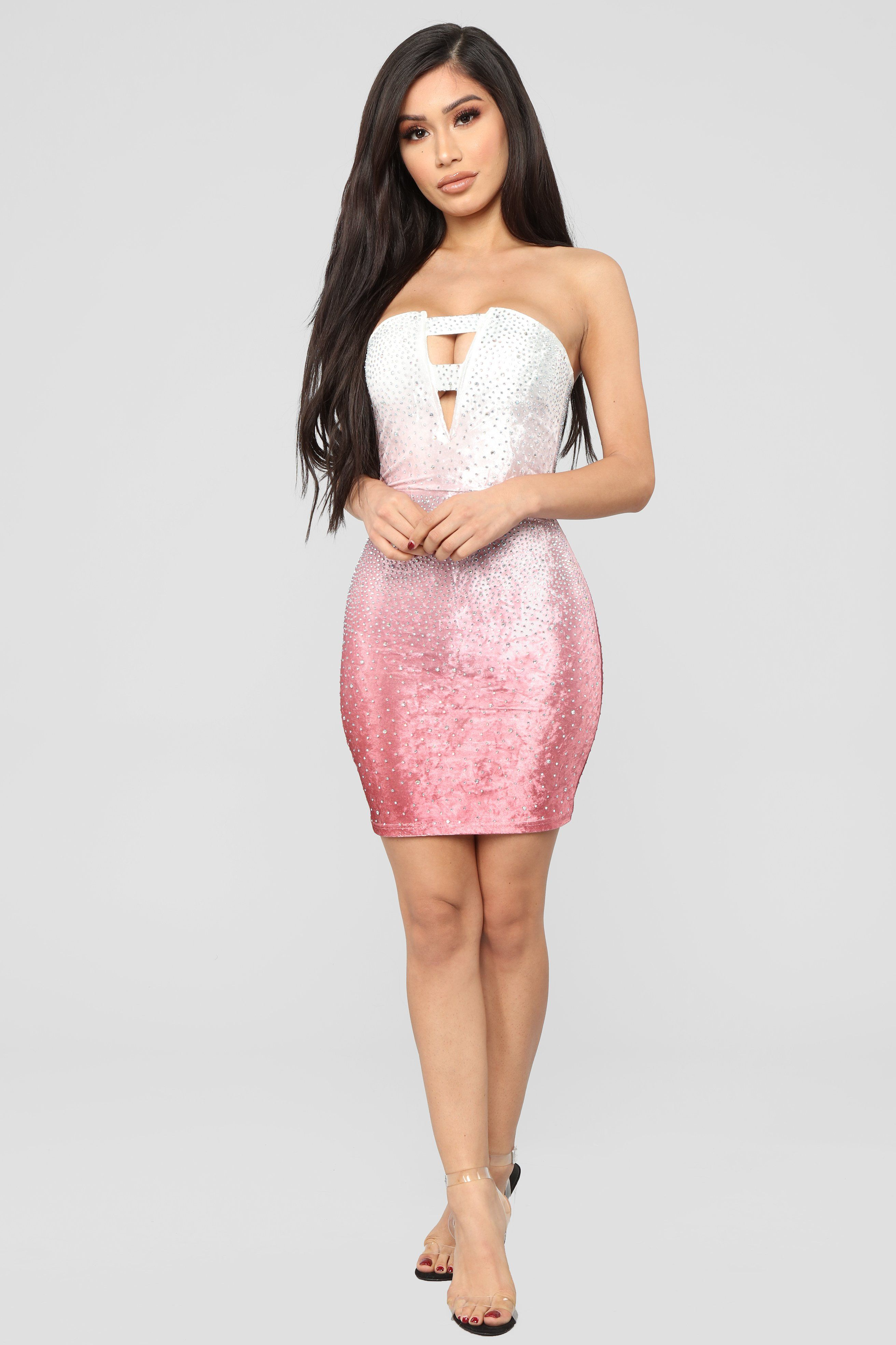195c021847f2 Different Shades Ombre Mini Velvet Dress - Pink in 2019 | Mubarak ...