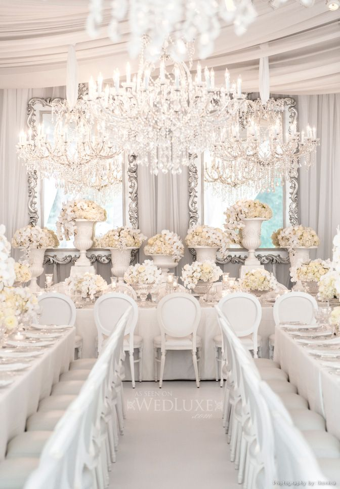 Wedluxe Magazine All White Silver By Anne Andersons Events All White Wedding White Wedding Wedding Decorations