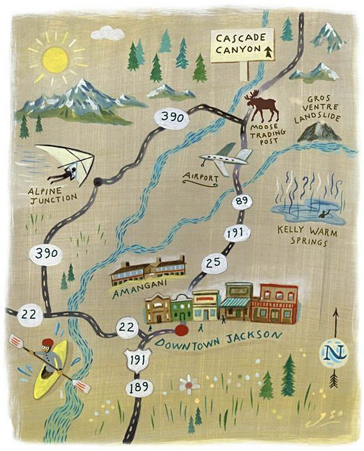 John S. s - Jackson Hole Wyoming map | Illustrated Hand Drawn ... S In Wyoming Map on