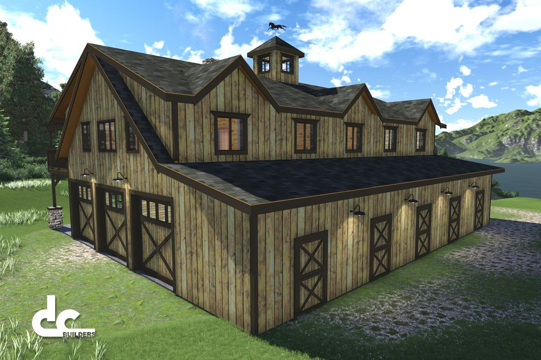 Barndominium with rv storage pole homes with living Barn plans with living space