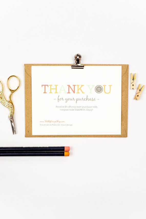 Thank You For Your Purchase Notecard Printable INSTANT DOWNLOAD - Business thank you cards templates