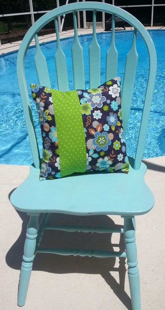 Pillow Cover 14 x 16  Floral Blues Aqua by GwensCreativeCottage, $17.50