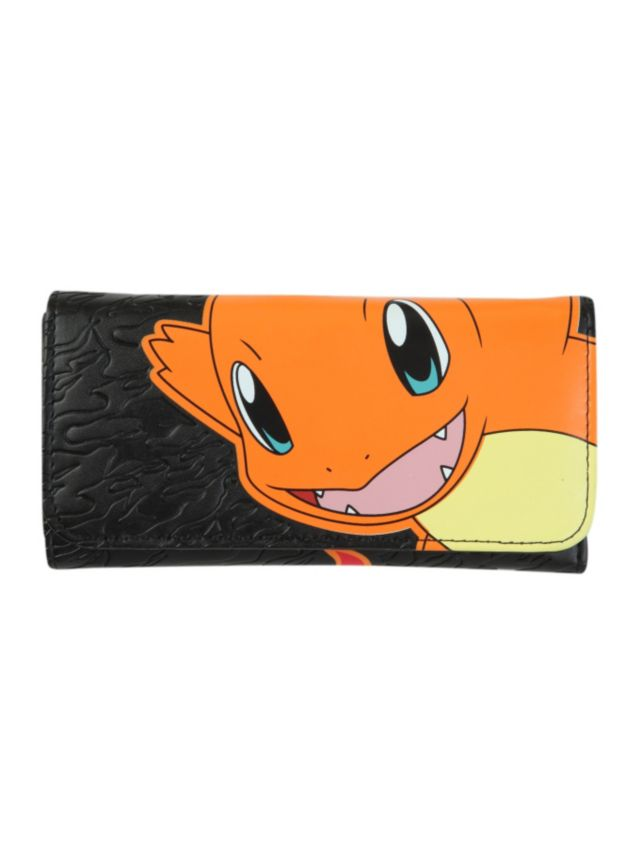 Black embossed flap wallet with a Charmander design. Inside has card slots, zipper pocket and billfold.