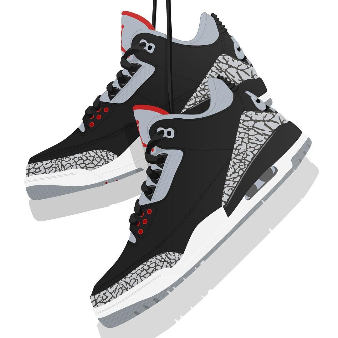 31dbd8f726f Air Jordan 3 Black Cement. These look incredible printed on premium Gicleé  paper.