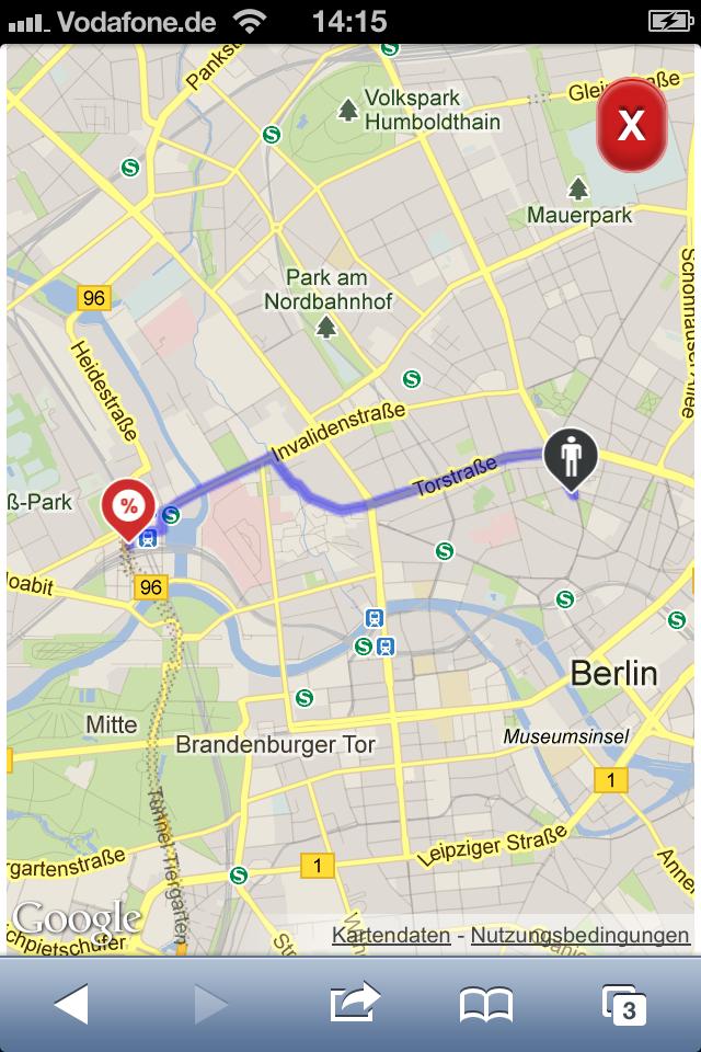 ★ CTA 3 ★ Auf der Karte wird eine Route zur nächsten Filiale vorgeschlagen. Powered by radcarpet.