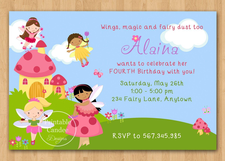 Magical Fairies Birthday Invitation Custom Printable