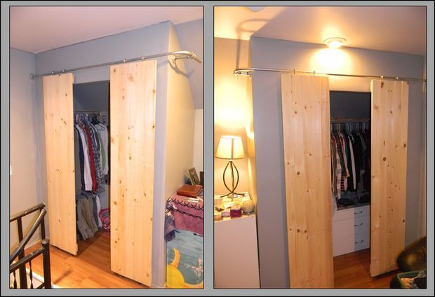 Corner Closet With Homemade Sliding Barn Doors.