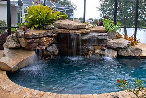 Pin By Byron Brown On Dream Home Swimming Pool Waterfall Backyard Pool Landscaping Pool Landscaping