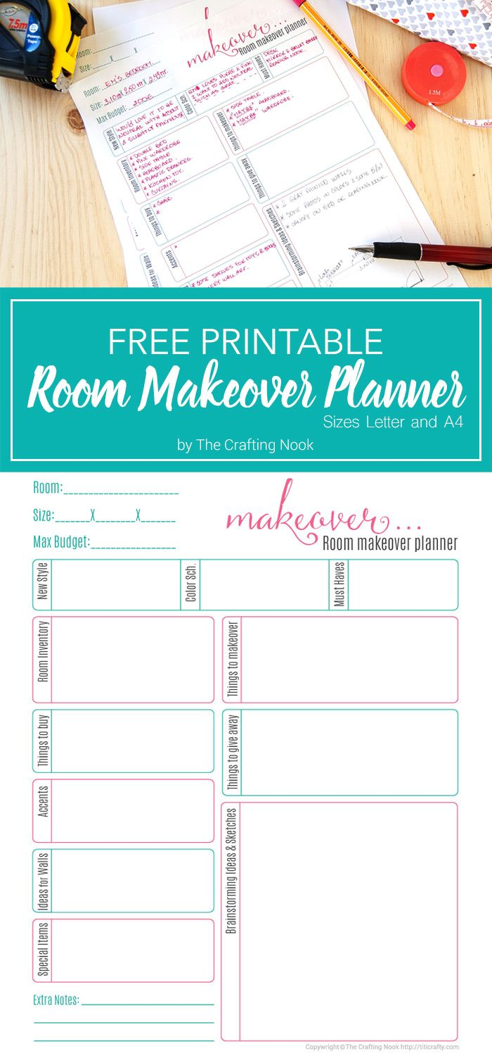 Free Room Makeover Planner Printable Project Planner Printable Renovation Planner Printable Planner